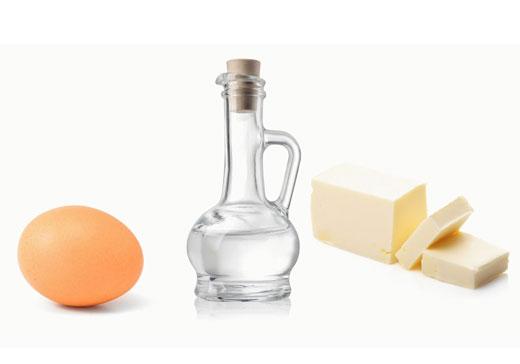 Яйцо, уксус и масло